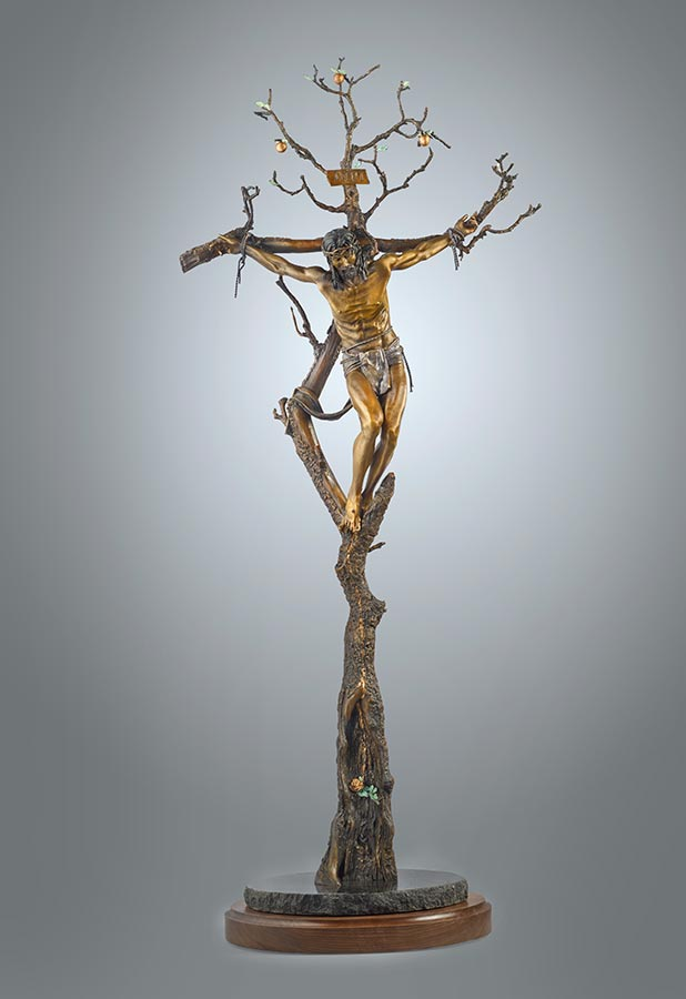 Christ of the Holy Cross a bronze sculpture by James Muir Allegorical Sculpture Artist