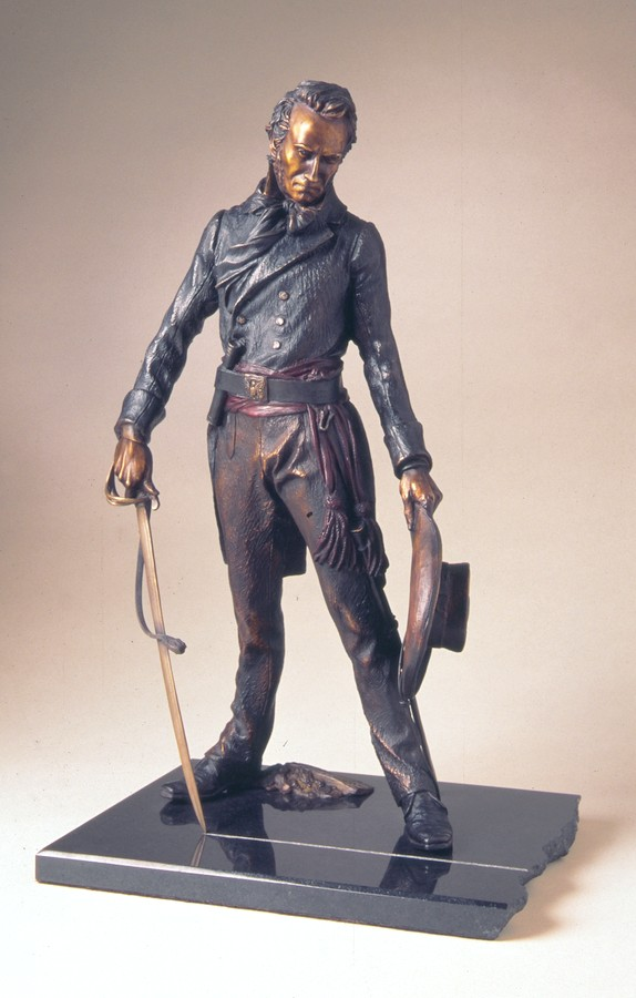 Colonel Travis - The Line a Maquette-size Bronze Sculpture Allegory by James Muir