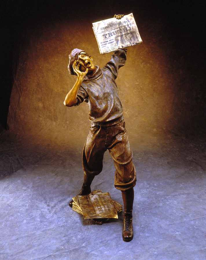 The Newsboy Life-size Bronze Sculpture Allegory by James Muir