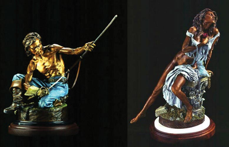 The Sabre and The Rose a Bronze Civil and Indian War Era Sculpture by James Muir